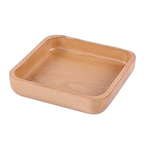 Ciotola Per Frutta - Ciotola per Insalata in Legno Massello/Ciotola in Legno/Frutta/Piatto Frutta Secca - Ciotola Quadrata Spessa (4 Pezzi) (Size : 3)