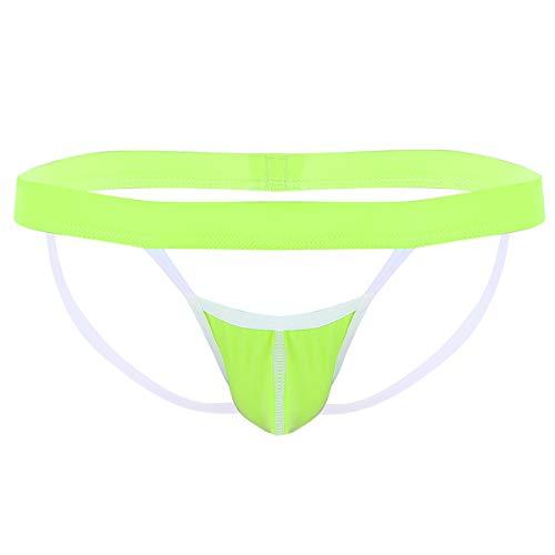 Alvivi Tanga Abierto de Hilo Sexy Hombre Lencería Crotchless G-String Bikini Slip Relleno Ropa Interior con O-Ring Verde césped Large