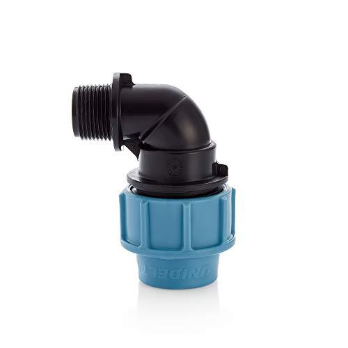MDPE-PE-Wasserrohr-Winkelstück 3/4 Zoll AG aus Kunststoff, Kompressionsreduzierer, 90-Grad-Anschlussstück