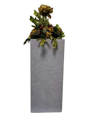 Teramico plantenbak bloempot vierkant hoog-zwart/antraciet en grijs-rechthoek 50 cm en 60 cm vorstbestendig leuke tuindecoratie 20 x 20 x 50cm Stone-Grey