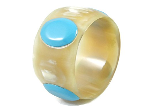 Natural buffalo horn bangle with turquoise ovals
