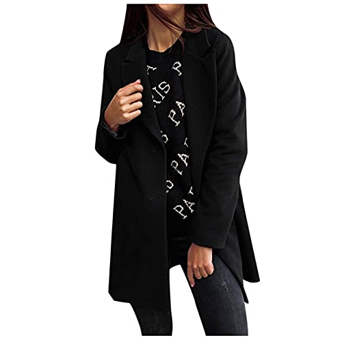 Women's Notched Lapel Double Breasted Trench Jacket Solid Long Sleeve Mid-Long Wool Pea Coat