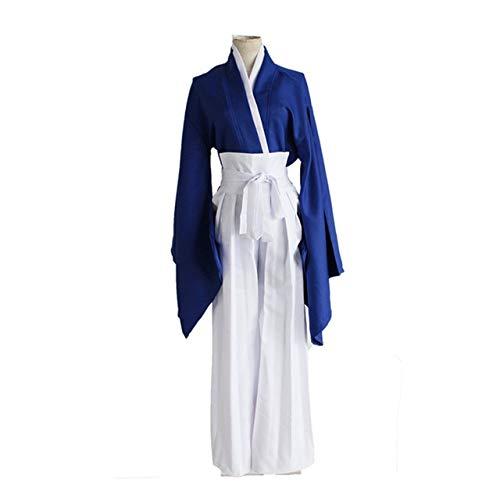 WSJDE Anime Rurouni Kenshin Himura Kenshin Kimono Rojo/Azul Disfraces de Cosplay Conjunto Completo Kendo Uniforme (Top + Pantalones + Cinturón) Talla S-XL S Azul