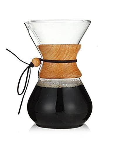 YJSS JXXXJS 400ml 600ml 800ml de café de Vidrio cafetera café Espresso máquina con Filtro de Acero Inoxidable vertido en hervidor de Goteo (Color : 800ml)