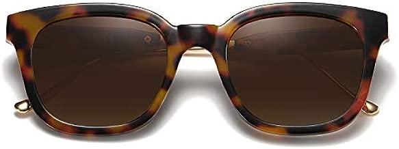 SOJOS Classic Square Polarized Sunglasses Unisex UV400 Mirrored Glasses SJ2050 with Tortoise Frame/Brown Lens