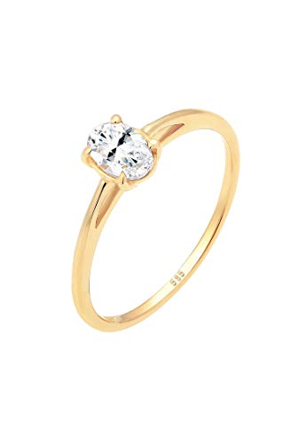 Elli PREMIUM Ring Damen Verlobungsring Valentin Liebe Topas in 585 Gelbgold
