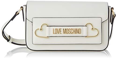 Love Moschino Damen Jc4270pp0a Kuriertasche, Weiß (White Pu), 10x14.5x25 Centimeters (W x H x L)