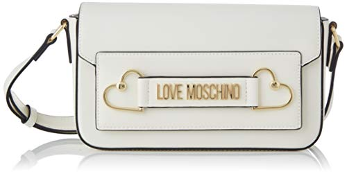 Love Moschino Jc4270pp0a, Bolsa de mensajero para Mujer, Blanco (White Pu), 10x14.5x25 Centimeters (W x H x L)