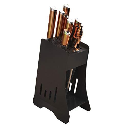 Bloque de cuchillo, soporte de almacenamiento de cocina de acero inoxidable grueso, gran capacidad, con bandeja de drenaje fácil de usar bloque de cuchillo de cocina de secado rápido, fácil limpieza