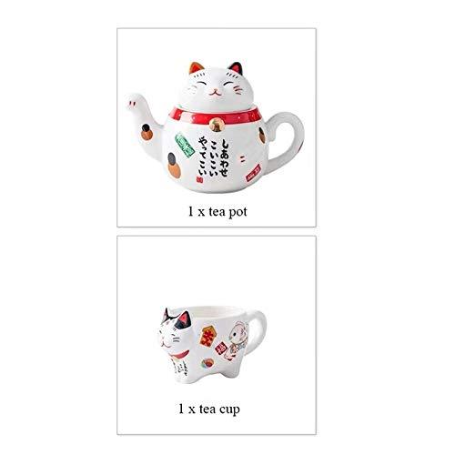 weichuang Juego de té de porcelana con diseño de gato de la suerte japonés creativo Maneki Neko taza de té de cerámica con colador creativa tetera taza de café (color: 1 olla y 1 taza)