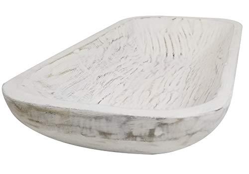 BND+ Wooden Dough Bowl Antique white Vintage Oblong Hand Carved Bowl For Home Decor, Rustic Farmhouse Dough Bowl L19 X W8 X H3 inches