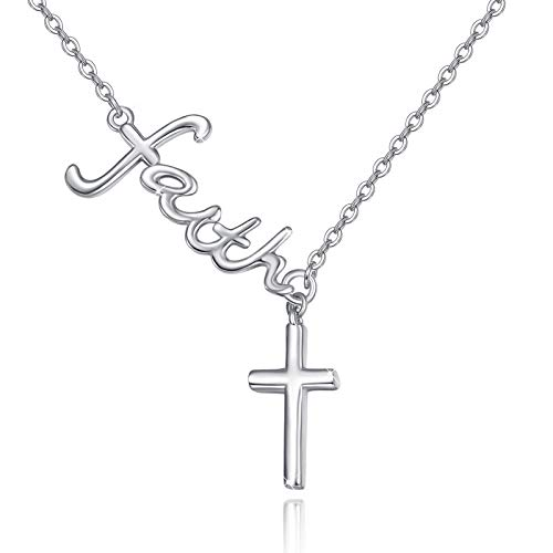 Collar de cruz de plata de ley 925 con colgante de fe de Jesús y cruz para mujeres, niñas, hombres y adolescentes