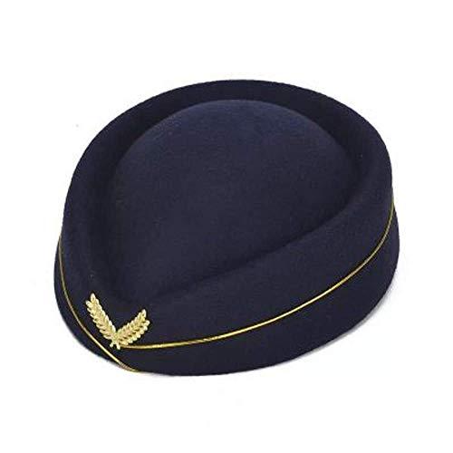 XJIUER Hut Wollfilz Pillbox Stewardess Baskenmütze Baskenmütze Stewardess Uniformmütze Caps A