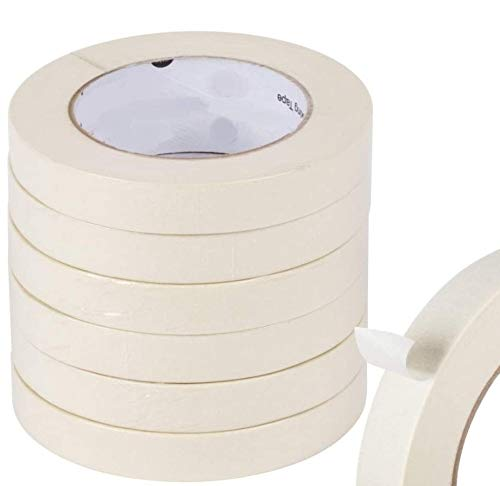"""1InTheOffice Masking Tape, General Purpose Masking Tape for Production Painting, White/Beige Tape 3/4 Inch x 60 Yards, 3"""" Core, 6/Pack"""