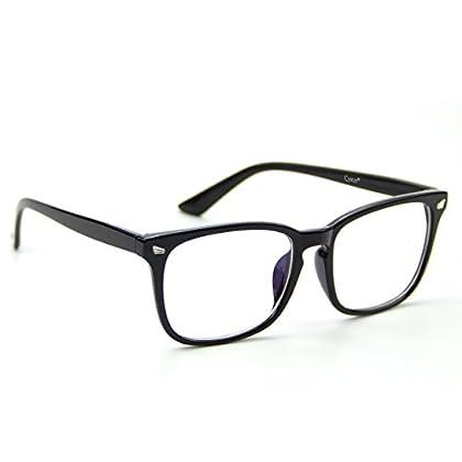 Cyxus(シクサズ)伊達メガネ [透明レンズ] ウェリントン レトロ 復古デザイン 一体型の鼻パッド 超軽量ノーズパッド ファッション クラッシク 黒縁眼鏡 原宿眼鏡 男女兼用(黒縁)