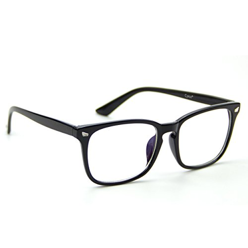 Cyxus(シクサズ)伊達メガネ [透明レンズ] ウェリントン レトロ 復古デザイン 一体型の鼻パッド 超軽量ノ...