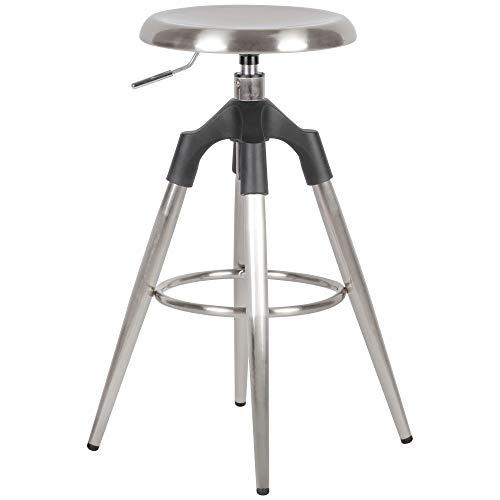 FineBuy Barhocker Silber Metall 72-80 cm | Design Barstuhl 100 kg Maximalbelastbarkeit | Tresenhocker Industrial | Tresenstuhl ohne Lehne