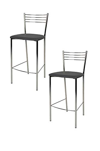 Tommychairs - Set 2 sgabelli alti modello Elena per cucina e bar, struttura in acciaio cromato e seduta imbottita e rivestita in pelle artificiale colore grgio scuro