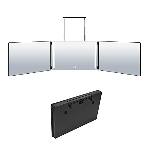 Lipeed Specchio a 3 vie per strumenti di taglio autosigillante, ricaricabile, regolabile in altezza, con gancio telescopico leggero