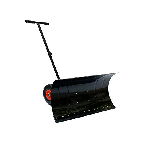 Find Discount YILIKISS Snow Pusher | Wheeled Snow Shovel Pusher | 29 x 13-Inch | Doorway Driveway or...