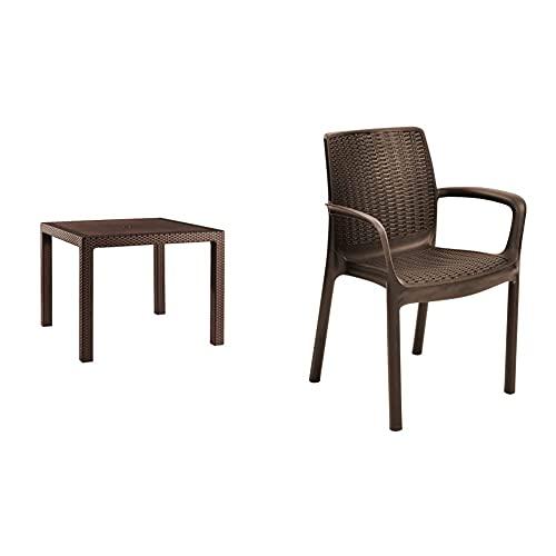 Keter - Set de Mesa y sillas Bali (Mesa + 2 Sillas), Color marrón