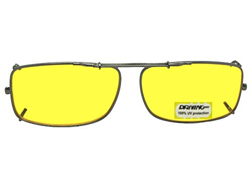 Slim Rectangle NON Polarized Yellow Lens Clip On Sunglasses (Pewter-NON Polarized Yellow Lens, 56mm Width x 35mm Height)