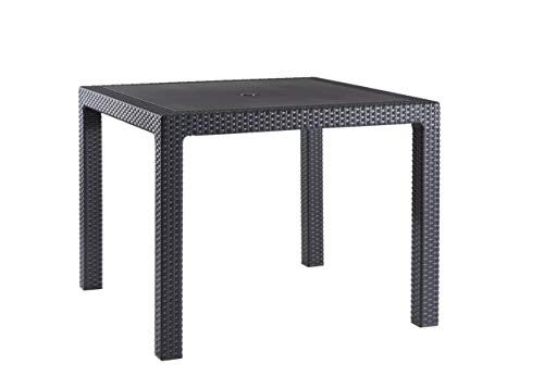 Keter Quartet 4 Seater Rattan Patio Outdoor Garden Furniture Dining Table - Graphite