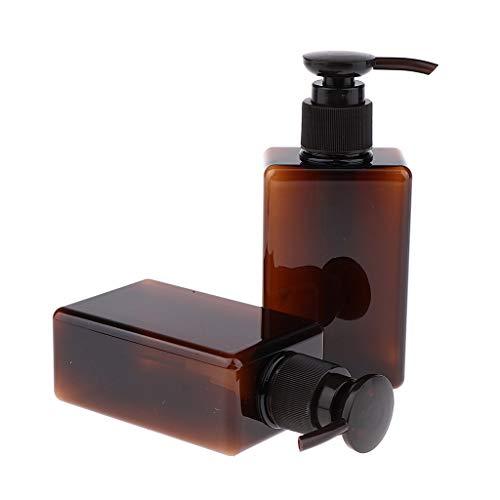 MagiDeal 2pcs 150 Ml Flacon de Voyage Plastique Contenant Cosmetique Vide Distributeur Bouteille Gel Douche Shampooing Lotion - Marron