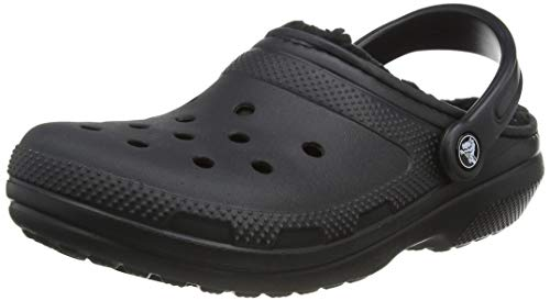Crocs unisex adult Classic Lined | Warm and Fuzzy Slippers Clog, Black/Black, 5 Women 3 Men US