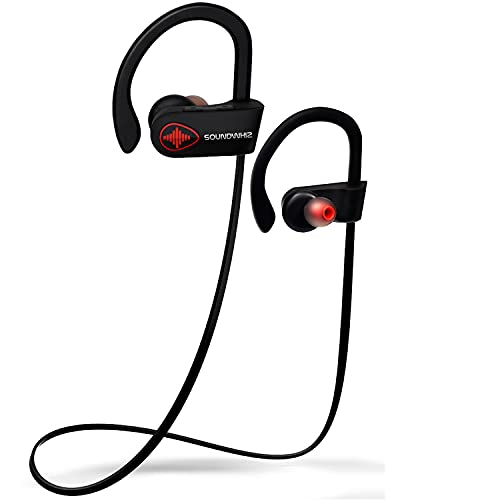U8 Wireless Bluetooth Running Headphones - SoundWhiz Noise Cancelling Waterproof Workout Earbuds - w Mic & Siri. Best Sport Headphones 8 Hours Play, Matt Black & Red