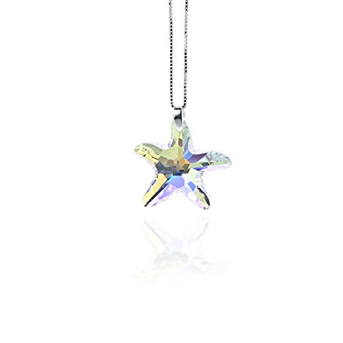 Kristallwerk, Damen Kette 925 Silber mit 28mm SWAROVSKI ELEMENTS Seestern Pendant Farbe Crystal Aurore Boreale