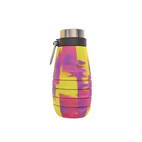 Esdlajks Botella de la Taza de Bebida portátil de 500 ml Copa Plegable Plegable Copa de Acampada Plegable Botella de Agua exprimida Portátil Botella de Silicona retráctil para el Recorrido Senderismo