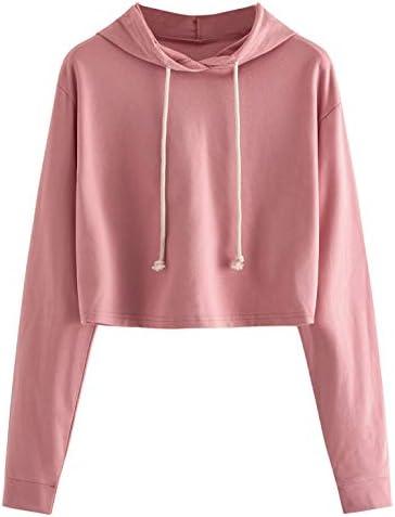 MAKEMECHIC Women s Casual Long Sleeve Pullover Hoodies Crop Tops Sweatshirt A dark pink M product image