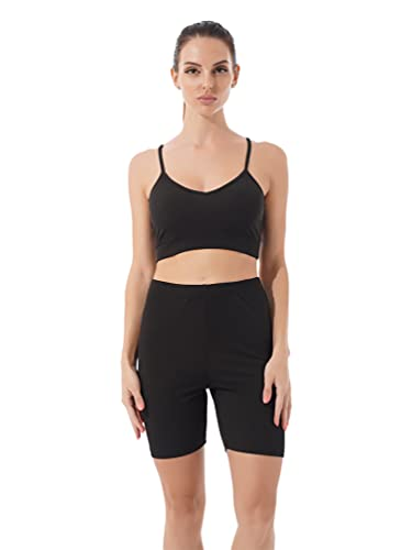 inhzoy Conjunto de Chándal de 2 Piezas para Mujer Conjunto de Ropa Deportiva de Verano a la Moda Traje Informal de Yoga con Pantalones Negro M