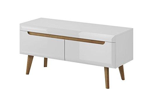Furniture24 Tv Schrank NORDI Lowboard Unterschrank Skandinavische Stil (Weiß/Weiß Hochglanz)
