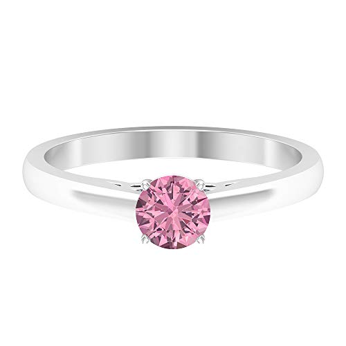 Anillo de compromiso clásico, 0,5 ct 5 mm, anillo solitario de turmalina, anillo de boda vintage grabado, anillo de declaración de las mujeres, 10K Oro blanco, Size:EU 63