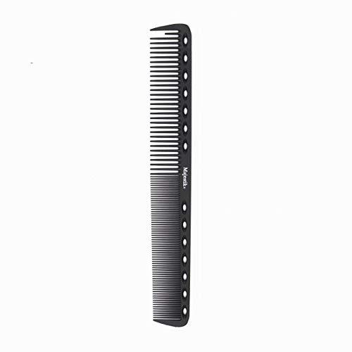 Professioneller Haarkamm messen - Hergestellt aus Kohlefaser - Starker, langlebiger, antistatischer, hitzebeständiger Kamm mit mittleren und feinen Zähnen