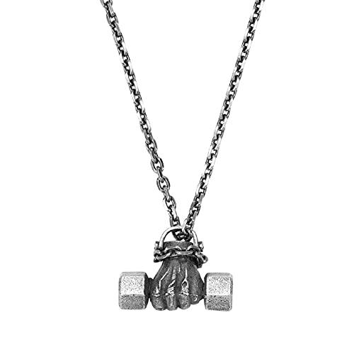 Collar con Colgante De Puño con Mancuernas para Hombres Y Mujeres - Plata De Ley 925 Punk Power Fist Jewelry Cadena De Clavícula Hip Hop Biker Gift
