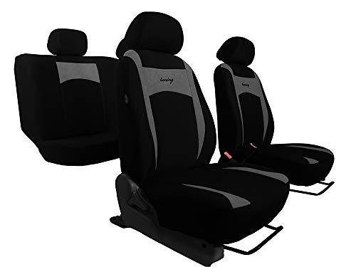 Sitzbezüge Design Grau geeignet für FIAT Panda waschbar universal Auto Bezüge EIN Set (im 7 Farben erhältlich)