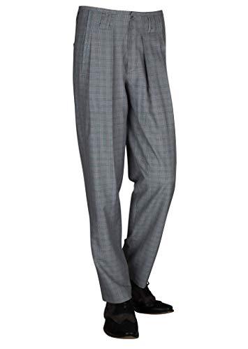 Karierte Herren Stoffhose Retro Vintage Stil, Bundfaltenhose Herren Fifties Style Model Boogie Größe 54