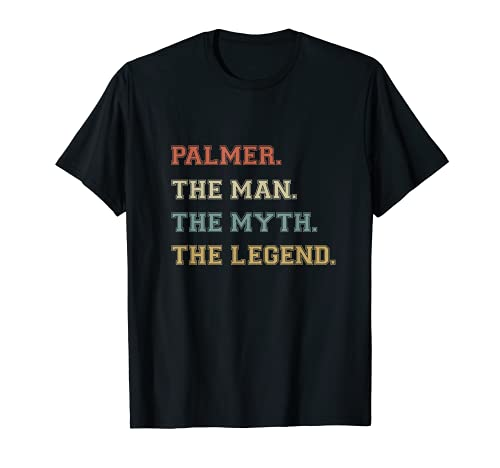 Palmer The Man Myth Legend Funny Varsity Nombre personalizado Camiseta