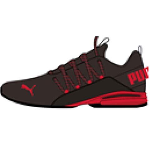 PUMA Men's Axelion Running Shoe, Black-High Risk Red, 8.5