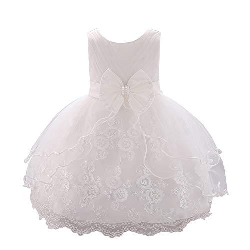 LPATTERN Baby Mädchen Festkleid- Prinzessin A-Linie Schleife- Tüllkleid mit Blumen-Stickerei, Weiß, Gr. 74/80(Herstellergröße: 80cm)