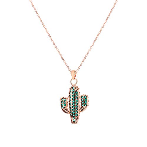 Ouran Cactus Pendant Necklace for Women, Rose Gold and Silver Plated Long Chain Necklace with Cubic Zirconia Best Gift for Mother, Friends