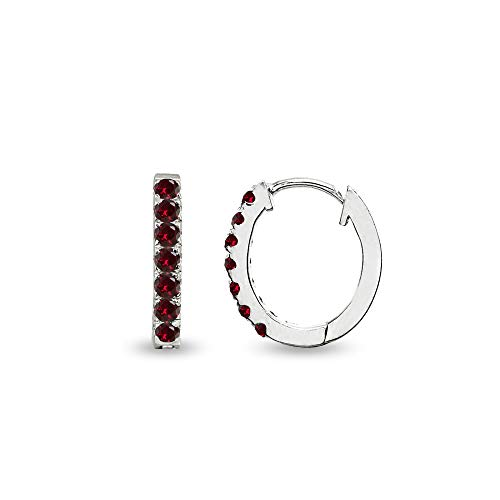 Sterling Silver Tiny Small 15mm Prong-set Synthetic Ruby Oval Huggie Hoop Earrings for Women, Teen Girls