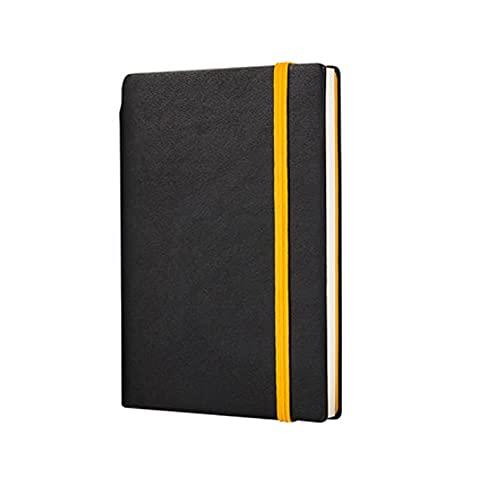 QWEA Cuaderno de cuero PU Diario de viaje engrosado-Estudio retro de oficina-Reunión-Cuaderno portátil A6 (100 hojas / 200 páginas) (Color: Negro)