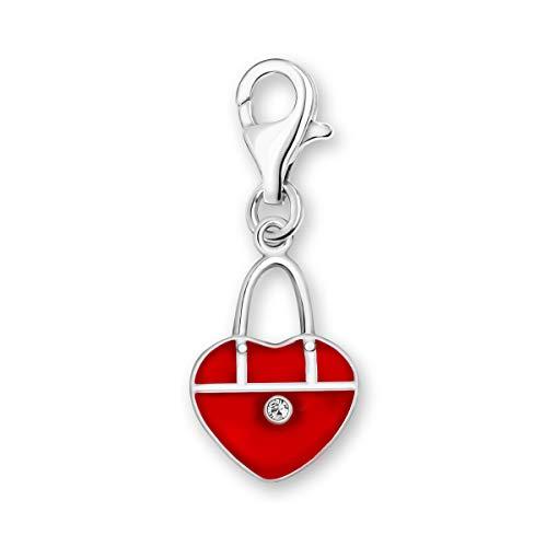 Quiges Charm con Cierre Colgante Monedero Rojo en Forma de Corazón Plata de Ley 925 Mujer para Pulseras Europeas