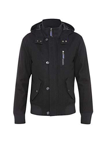 EeZeeCat, Dreamweaver Mens Wool Blend Bomber Jacket with Hood - Black- Large