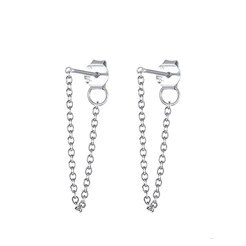 Pendientes Mujer Pendientes para Mujer Plata De Ley 925 Cadena De Barra De Palabras Conjunto De Pendientes Colgantes Bijoux Femme Silver 2