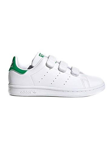 adidas Stan Smith CF, Sneaker, Footwear White/Footwear White/Green, 33.5 EU